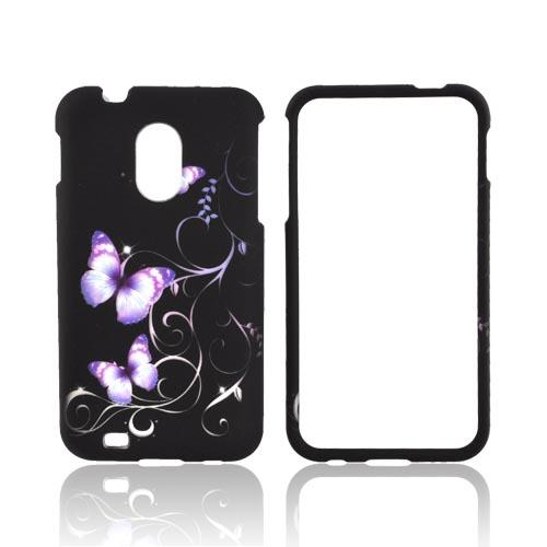Samsung Epic 4G Touch Rubberized Hard Case - Purple Butterflies on Black