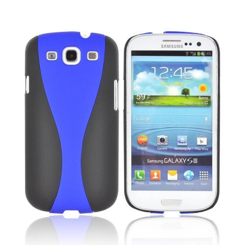 Samsung Galaxy S3 Two-Tone Rubberized Hard Case - Black/ Blue