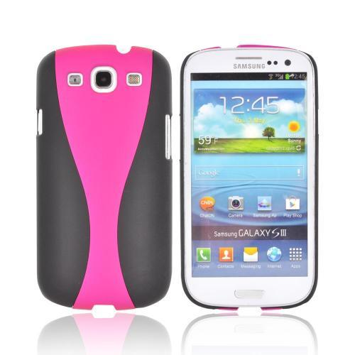 Samsung Galaxy S3 Two-Tone Rubberized Hard Case - Black/ Hot Pink