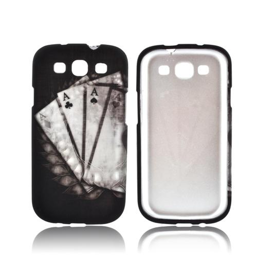 Samsung Galaxy S3 Rubberized Hard Case - Black/ White Aces w/ Laurel Leaf Imprint