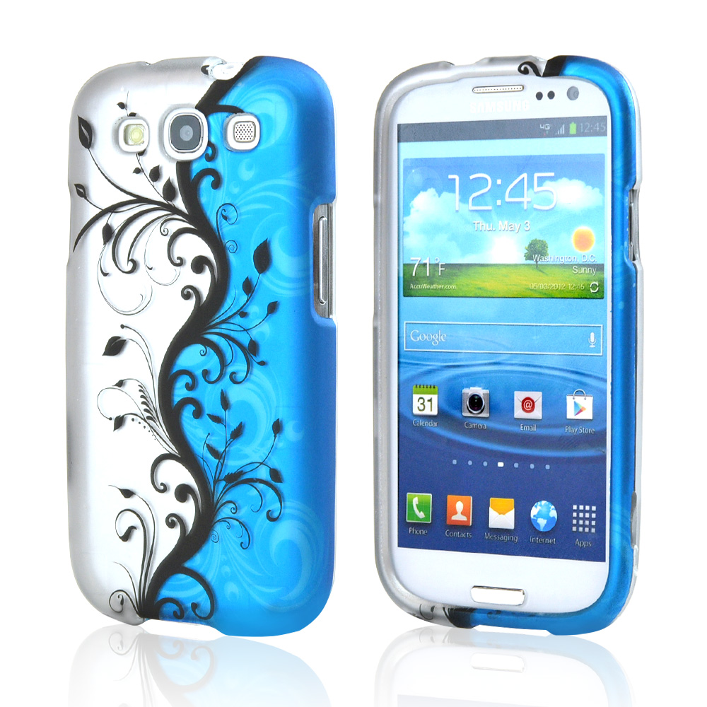 Samsung Galaxy S3 Rubberized Hard Case - Black Vines on Blue/ Silver