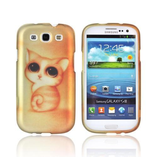 Samsung Galaxy S3 Rubberized Hard Case - Gold/ Orange Cute Cat