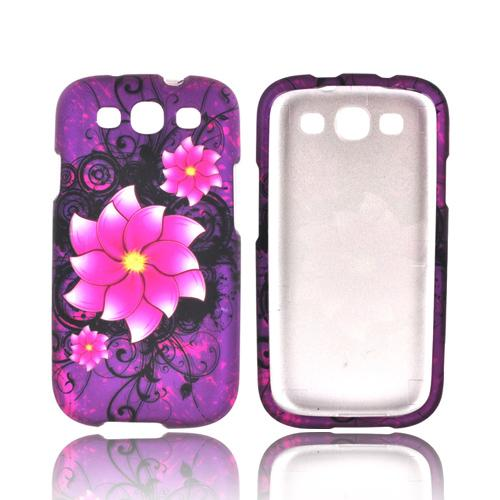 Samsung Galaxy S3 Rubberized Hard Case - Pink Divine Flower on Purple