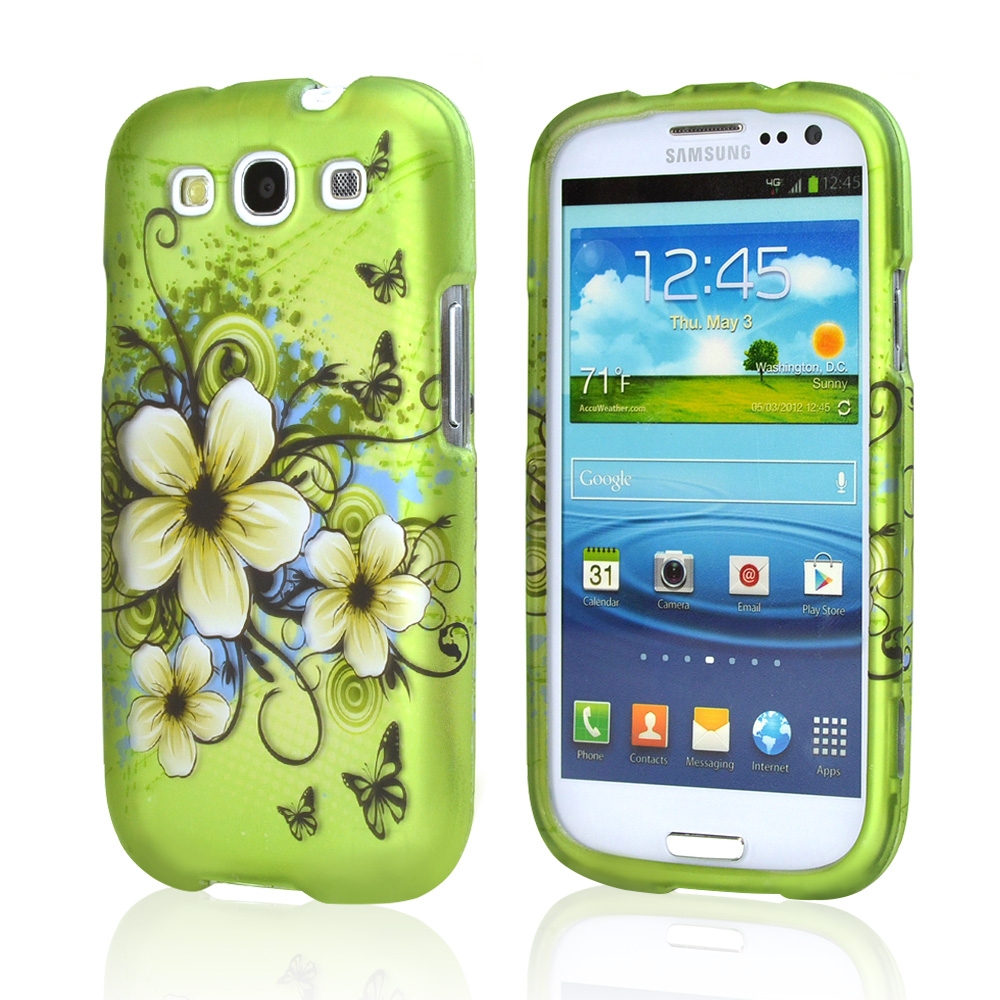 Samsung Galaxy S3 Rubberized Hard Case - White Hawaiian Flowers on Green
