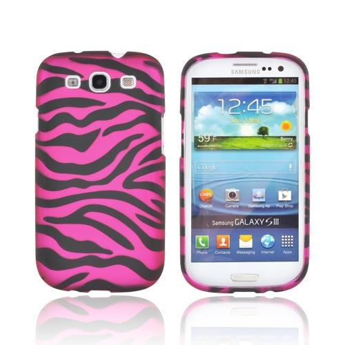 Samsung Galaxy S3 Rubberized Hard Case - Hot Pink/ Black Zebra