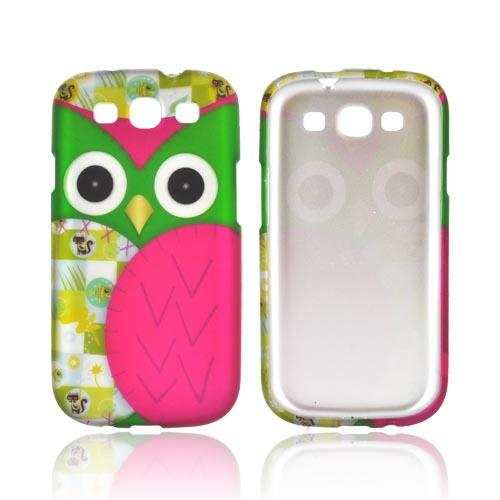 Samsung Galaxy S3 Rubberized Hard Case - Green/ Hot Pink Owl Design