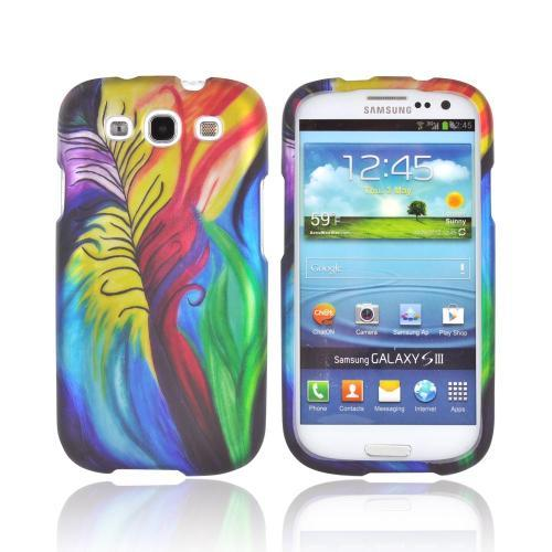 Samsung Galaxy S3 Rubberized Hard Case - Rainbow Peacock Feathers
