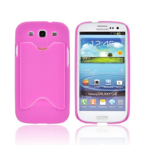 Samsung Galaxy S3 Rubberized Back Cover w/ ID Slot - Purple