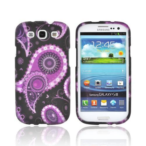 Samsung Galaxy S3 Rubberized Hard Case - Purple/ Black Paisley
