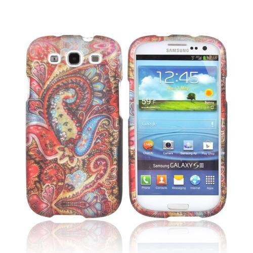 Samsung Galaxy S3 Rubberized Hard Case - Red/ Blue Enticing Peacock