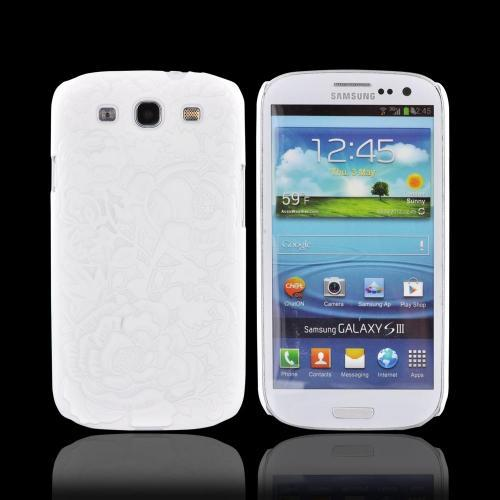 Samsung Galaxy S3 Rubberized Hard Case w/ 3D Texture - White Roses & Vines