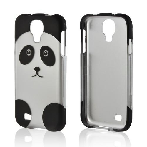 Silver/ Black Panda Rubberized Hard Case for Samsung Galaxy S4