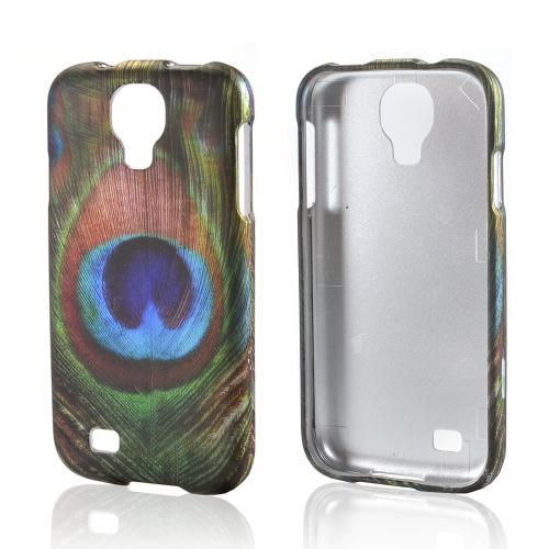Colorful Peacock Feather Rubberized Hard Case for Samsung Galaxy S4