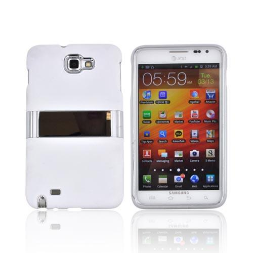 Samsung Galaxy Note Rubberized Hard Case w/ Chrome Kickstand - White