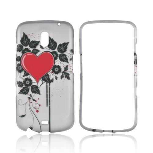 Samsung Galaxy Nexus Rubberized Hard Case - Red Heart w/ Leaves on Silver