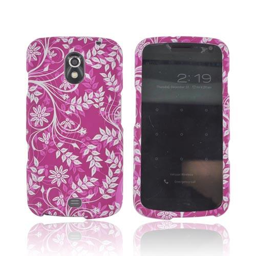 Samsung Galaxy Nexus Rubberized Hard Case - White Vines on Magenta