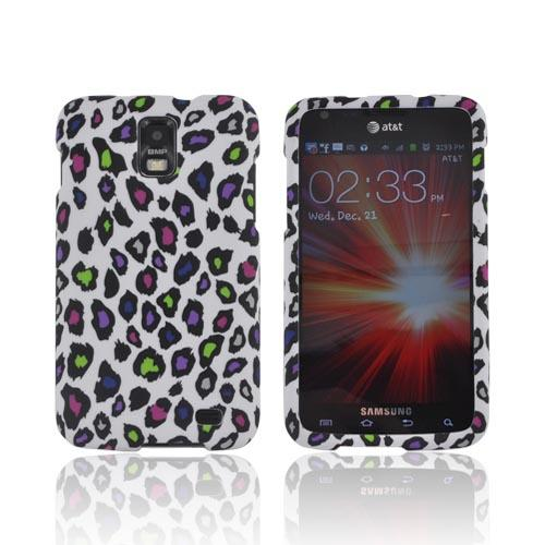 Samsung Galaxy S2 Skyrocket Rubberized Hard Case - Colorful Leopard on White