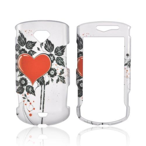 Samsung Gem i100 Rubberized Hard Case - Red Heart & Black Leaves on Silver