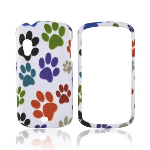Samsung Stratosphere i405 Rubberized Hard Case - Multi Color Paw Prints on White