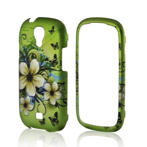 White Hawaiian Flowers on Green Rubberized Hard Case for Samsung Stratosphere 2