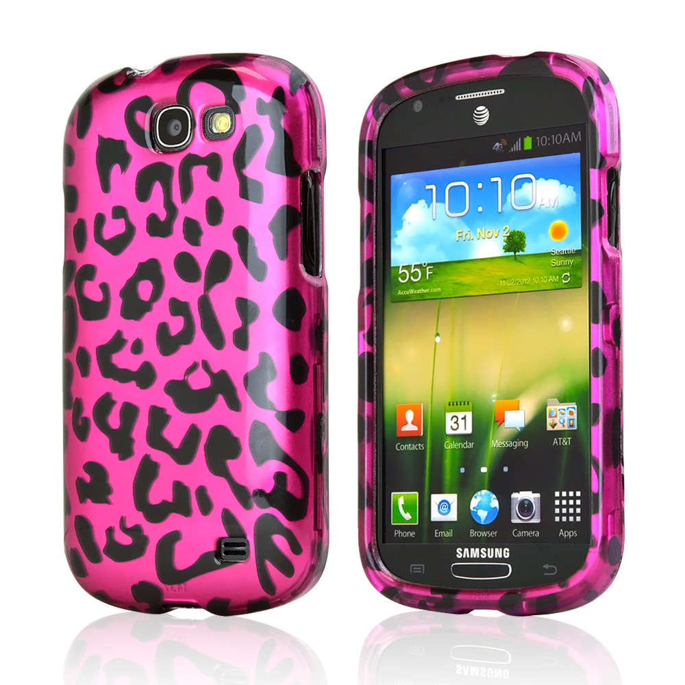 Hot Pink/ Black Leopard Rubberized Hard Case for Samsung Galaxy Express
