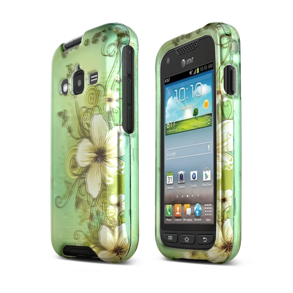 White Hawaiian Flowers on Green Rubberized Hard Case for Samsung Rugby Pro