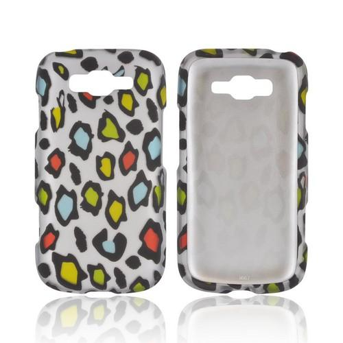 Samsung Focus 2 Rubberized Hard Case - Rainbow Leopard on Silver