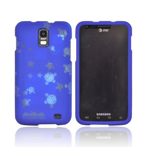 Samsung Galaxy S2 Skyrocket Androitastic Rubberized Hard Case - Blue Bubble Bot Invasion