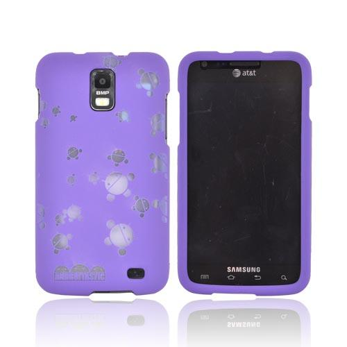 Samsung Galaxy S2 Skyrocket Androitastic Rubberized Hard Case - Purple Bubble Bot Invasion
