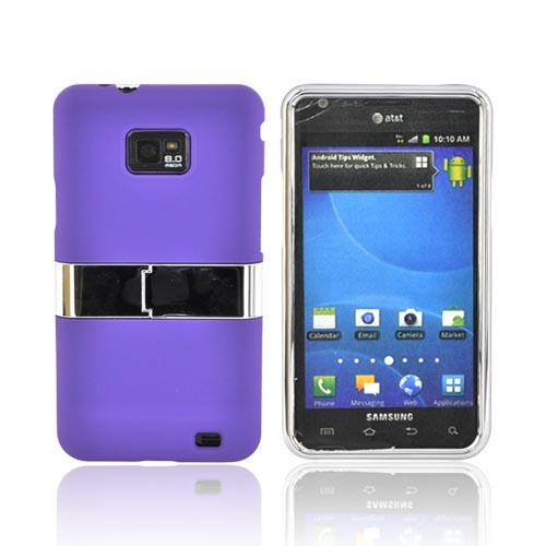 AT&T Samsung Galaxy S2 Rubberized Hard Case w/ Chrome Kickstand - Purple