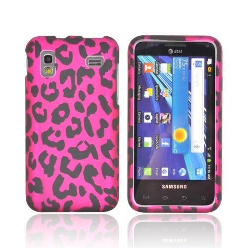 Samsung Captivate Glide i927 Rubberized Hard Case - Hot Pink/ Black Leopard