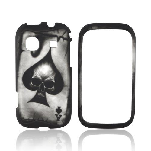 Samsung Trender M380 Rubberized Hard Case - Ace Skull on Black