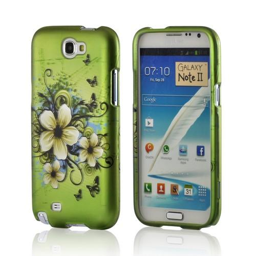 White Hawaiian Flowers on Green Rubberized Hard Case for Samsung Galaxy Note 2