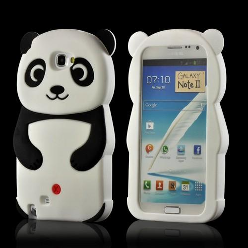 Black/ Silver Panda w/ Belly Button Silicone Case for Samsung Galaxy Note 2