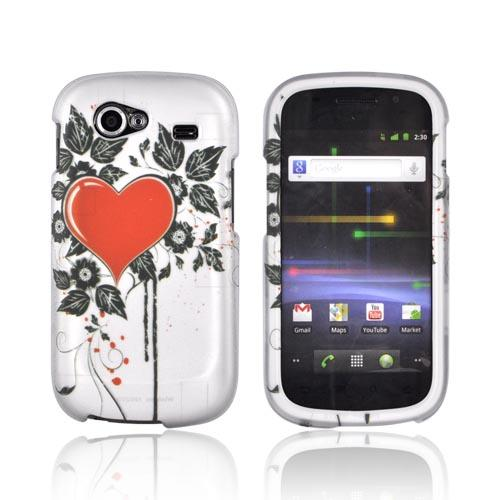 Google Nexus S Rubberized Hard Case - Red Heart w/ Black Leaves on Silver