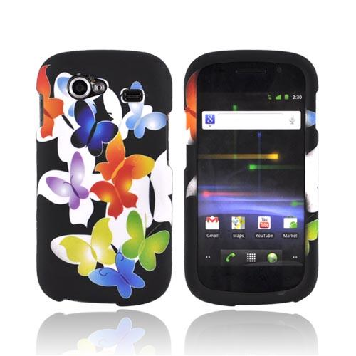 Google Nexus S Rubberized Hard Case - Rainbow Butterflies on Black