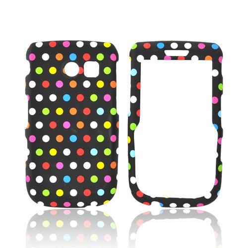 Samsung Freeform 2 R360 Rubberized Hard Case - Rainbow Polka Dots on black