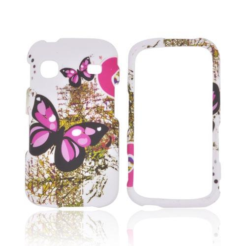 Samsung Repp Rubberized Hard Case - Pink Butterflies on White