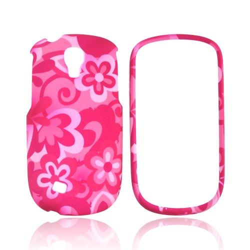 Samsung Gravity Smart Rubberized Hard Case - Hot Pink/ Baby Pink Flowers