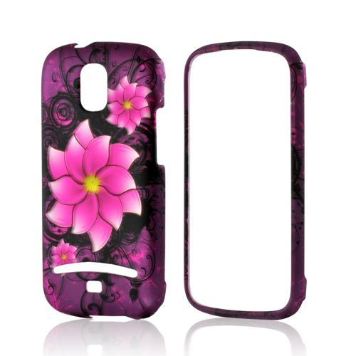 Hot Pink Divine Flower on Purple Rubberized Hard Case for Samsung Galaxy S Relay 4G