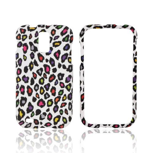 T-Mobile Samsung Galaxy S2 Rubberized Hard Case - Rainbow Leopard on White