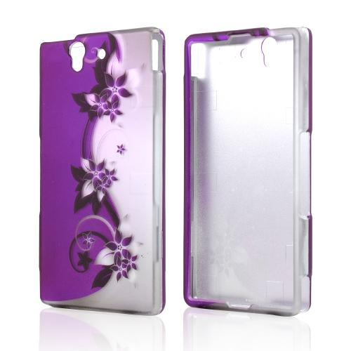Purple Vines & Flowers on Silver Rubberized Hard Case for Sony Xperia Z