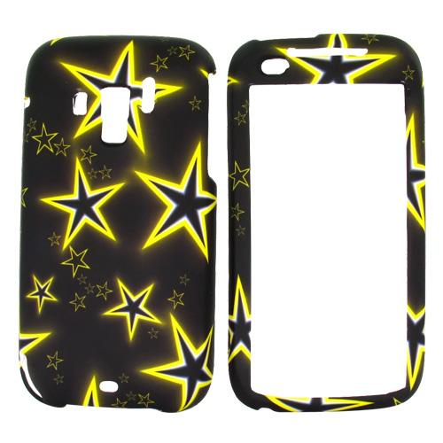 Verizon HTC Touch Pro 2 Rubberized Hard Case - Yellow Stars on Black