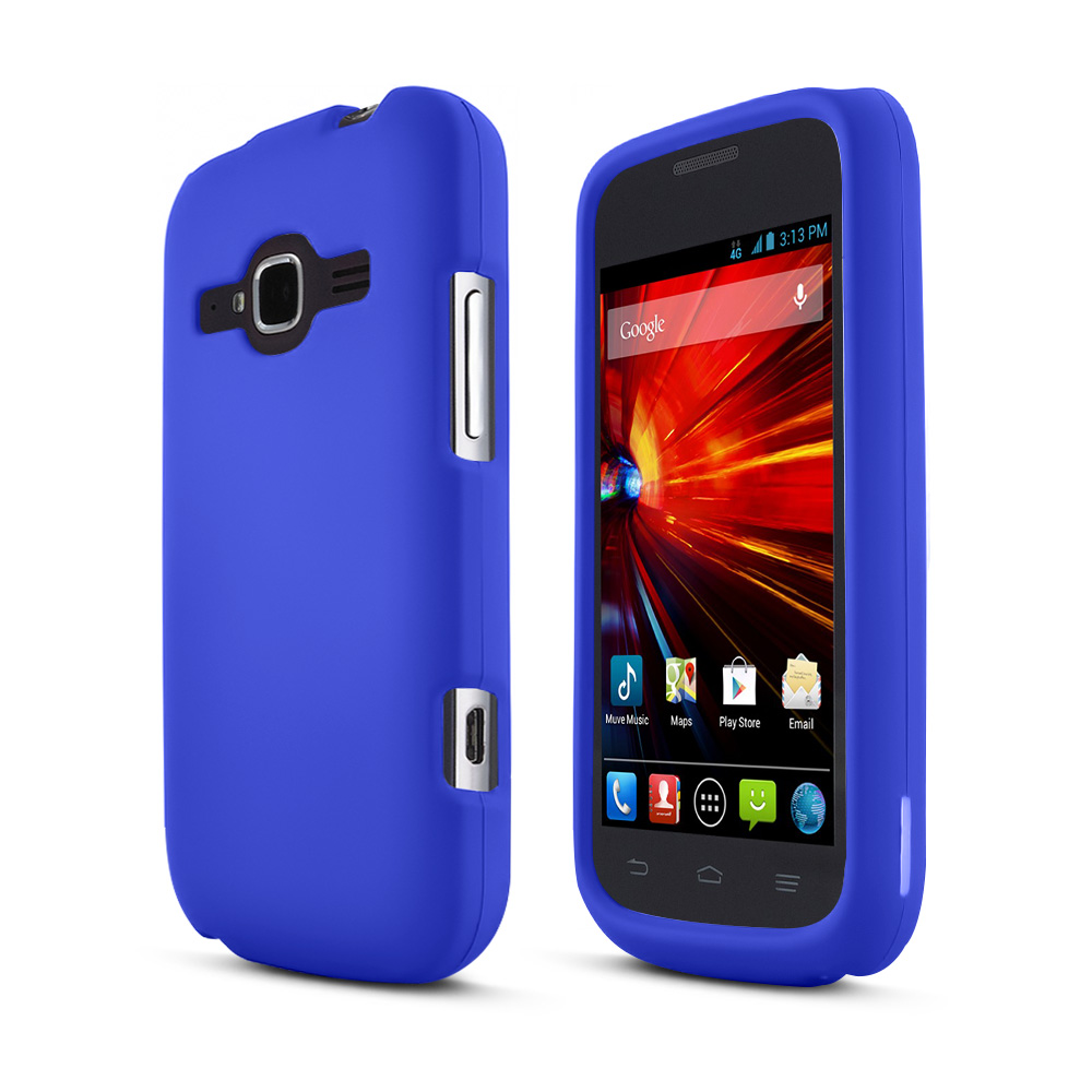 ZTE Concord 2 Case, [Blue] Slim u0026 Protective Rubberized Hard Plastic ...
