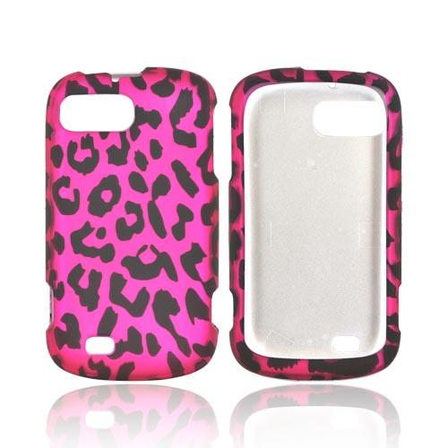 ZTE Fury N850 Rubberized Hard Case - Hot Pink/ Black Leopard