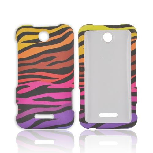 ZTE Score Rubberized Hard Case - Rainbow Zebra on Black