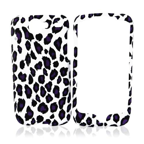 Google Nexus One Rubberized Hard Case - Purple/Black Leopard Print on White