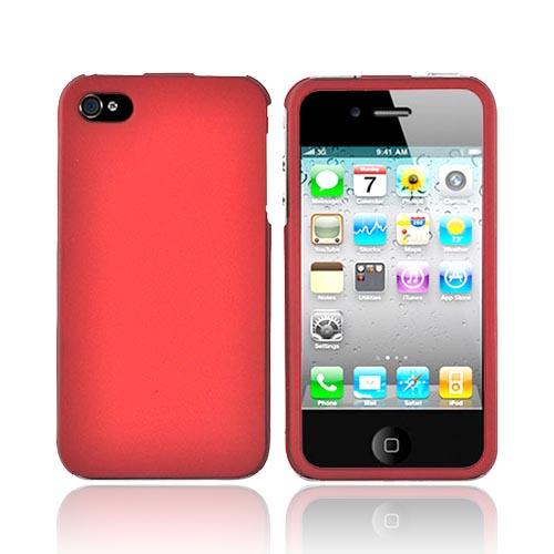 Apple Verizon/ AT&T iPhone 4, iPhone 4S Rubberized Hard Case - Red