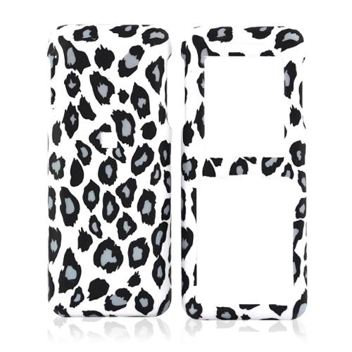 Kyocera Domino S1310 Rubberized Hard Case - Grey/Black Leopard Print on White