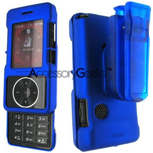LG VX-8500 Rubberized Hard Case w/ Belt Clip - Blue